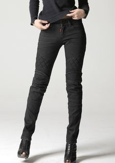 toothless women rugged motorcycle jeans