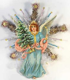 Beaded Star Topper with Angel in Blue  http://victorianornaments.com