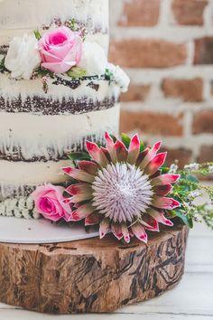 modern naked wedding cake