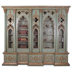 19th Century Antique Italian Gothic Revival Painted and Parcel-Gilt Cabinet 1880