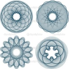 beautiful guilloche patterns variations made by repetition of different shapes.