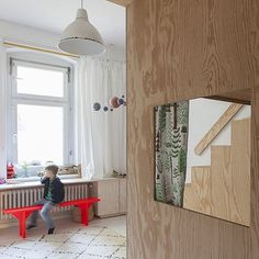 Custom-made bunk bed and clever storage solutions — see how the radiator has been 'framed' with cupboards on the side? Custom Bunk Beds, Beautiful Children, Radiators, Kids Furniture, Storage Solutions, Kids Room, I Shop, Cupboards, Frame