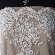 Beaded Lace Fabric   Ivory bridal Beaded Lace fabric pearls sequins scallop edge   Bodikian ...