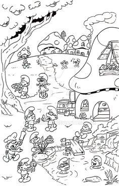 Smurfs village by jasonwulf