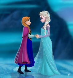 Love this cartoon drawing picture of Disney Frozen sisters - Anna and Elsa. I like how Anna is trying to comfort her sister, while Elsa is trying to protect her. Disney Pixar, Frozen Disney, New Disney Movies, Frozen Movie, Arte Disney, Disney Fan Art, Disney Animation, Disney Love, Disney Magic