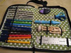 Polka-dot art supply purse