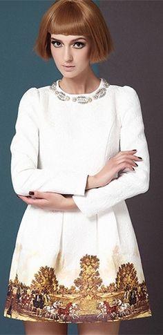 White Brown Long Sleeve Scoop Neck Beaded Floral Vintage Print Hem Pleated Flare Mini Dress