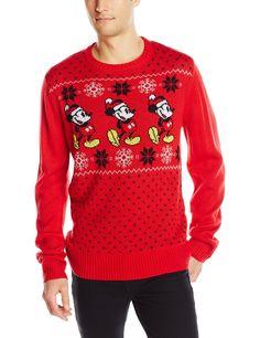 Disney Men's Mickey Pattern Sweater at Amazon Men's Clothing store: