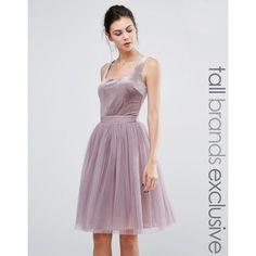 Little Mistress Tall Velvet Top Mini Skater Dress With Tulle Skirt ($89) ❤ liked on Polyvore featuring dresses, purple, purple velvet dress, velvet dress, tall dresses, velvet cocktail dress and tulle dress