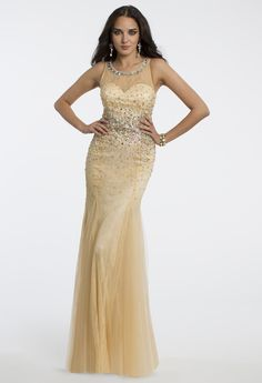 Camille La Vie Beaded Illusion Lace Prom Dress or Guest of Wedding Dress
