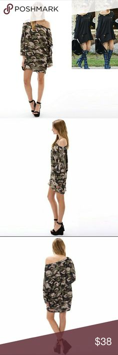 Stylish Destroyed Camo T-shirt Dress Stylish and trendy casual camo t-shirt dress. French Terry blend and made in the USA. Auditions Dresses