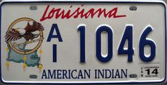 Louisiana American Indian License Plate by Suko's License Plates