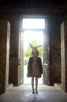 Beautiful festive kids fashion, rabbit head by Maddy Rita Fae, coat by Aristocrat Kids, dress by Tutu du Monde