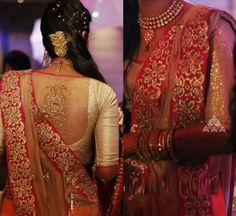 Elegant 3/4 sleeve on saree blouse with neck curtained back design