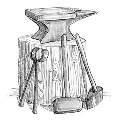 Non-Copyrighted Drawings | Sirach 38:28 Illustration - Blacksmith's Anvil | Saint Mary's Press