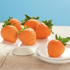 These I saw on Pinterest and their Easter Hand Dipped Strawberries! Dipped in white chocolate made orange with food coloring turns them into Easter Carrots! So cute!