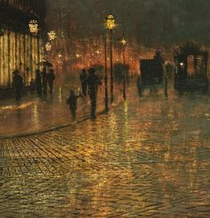 The artwork of painter John Atkinson Grimshaw. This is Leeds, Yorkshire, England.