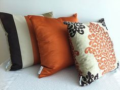 SET of 3 Damask orange, dark brown and otter designer fabric cushion covers… Brown Leather Sofa Living Room, Brown And Cream Living Room, Living Room Orange, Living Room Color Schemes, Living Room Colors, Living Room Decor, Brown Couch Throw Pillows, Accent Pillows, Decoration Bedroom