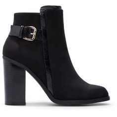 ShoeDazzle Booties Octavia Womens Black ❤ liked on Polyvore featuring shoes, boots, ankle booties, black, booties, black ankle booties, black boots, rock boots, black chunky heel boots and short black boots