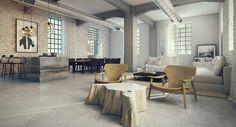 Open plan loft design - exposed brick, lots of natural light, minimal yet wonderful!