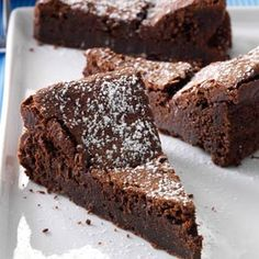 Flourless Chocolate Torte Recipe -Here's the perfect dessert for chocoholics—like me! I bake the melt-in-your-mouth torte all the time for special occasions. For an elegant finish, dust it with confectioners' sugar.—Kayla Albrecht, Freeport, Illinois