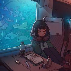 (By Carles Dalmau) Cute Art Styles, Cartoon Art Styles, Arte Sketchbook, Art Anime, Art Graphique, Kawaii Art, Pretty Art, Aesthetic Art, Aesthetic Pastel