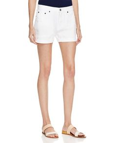 Jean Shop Janice Destructed Denim Shorts in White