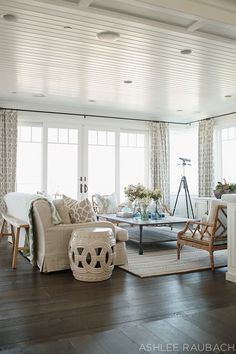 Living Room. Living Room Decor Ideas. Living Room Design with Coastal Decor and Dark Hardwood Floors. #LivingRoom
