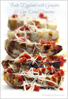 Baby Eggplant with Gruyère and Sun-Dried Tomatoes