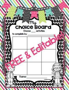 FREE and EDITABLE Choice Boards in 4 formats!