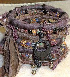 Free Ship US....Artisan Stacked Bangle Bracelets Draped In Sari Silk, Striped Picassos In Artsy, Earthy, Gypsy, Bohemian Bangles