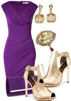 Purple Dress With Gold Shoes