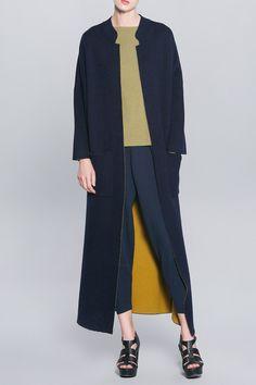 Wool Blend Knit Maxi Coat