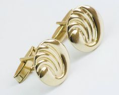 Vintage Cufflinks Art Deco Waves Cuff Links Gold by CuffsandClips, $17.60