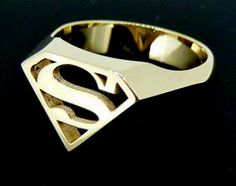 9ct Yellow Gold Superman Signet Ring, something really bold for the man of steel. RRP $800 AUD