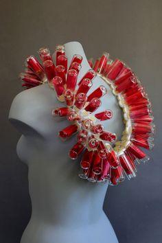 """""""Red Bottle Necklace"""" rose petals sealed inside glass bottles - Carrie Garrott 2012"""
