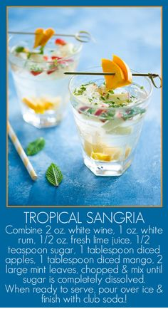 White Sangria AND Food Photography Food Styling workshop and Classes in Los Angeles Tropical Sangria Recipe, Sangria Recipes, Cocktail Recipes, Drink Recipes, Fun Drinks, Yummy Drinks, Yummy Food, Beverages, Healthy Food