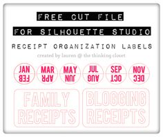 FREE Silhouette Cut FIle for Receipt Organization Tabs & Labels from thinkingcloset.com.