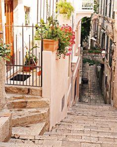 Pink Streets of Dubrovnik, Croatia