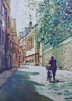 Brasenose Lane, Watercolor Painting of Oxford, by Jenny Armitage