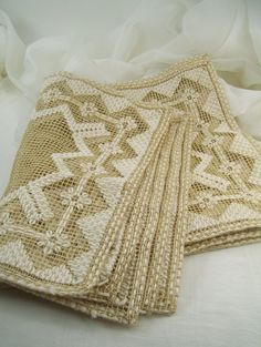 6 Vtg Handmade Placemats Net Darn Lace by PatziPlace on Etsy