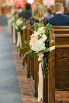 pew marker clusters of white hydrangea peach jana roses white lisianthus vendela roses sahara roses fern and lemon leaf are tied with satin ribbon. Church Pew Flowers, Church Pew Wedding Decorations, Wedding Church Aisle, Wedding Pews, Wedding Ceremony Flowers, Wedding Centerpieces, Decor Wedding, Wedding Sunflowers, Flower Centerpieces