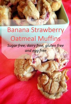 Banana Strawberry Muffins - Allergy friendly; dairy free, gluten free, egg free, and sugar from