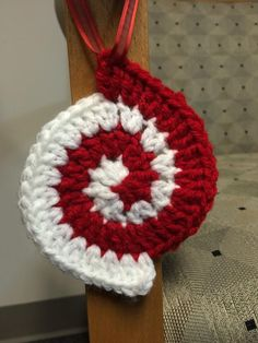 Peppermint Spiral Ornament - Crochet creation by Alana