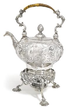 A silver tea kettle on lampstand with burner, Peter Archambo, London, 1755 | Lot | Sotheby's