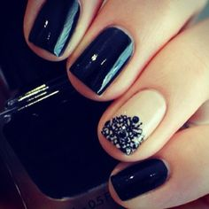 Pretty black and nude mani...