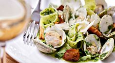 Linguine with Littleneck Clams, Chanterelles and Broccoli Rabe Pesto Recipe on Yummly