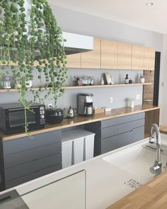\\ my home diary //さん( Kitchen Furniture, Kitchen Interior, Kitchen Decor, Kitchen Design, Luxury Kitchens, Home Kitchens, Inside Kitchen Cabinets, Kitchen Images, Open Plan Kitchen