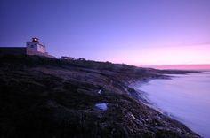 The blue hour at Bamburgh lighthouse, Northumberland, England
