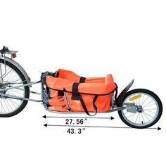 Aosom Solo Single-Wheel Bicycle Cargo Bike Trailer - Orange 1